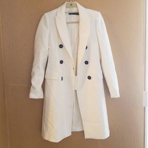 Zara White XS Double Breasted Coat